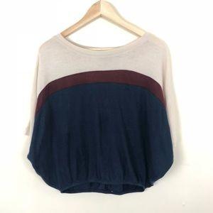 Maude • Blue Maroon Cream Tunic Top • Small